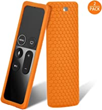 Remote Case, 2 Pack Remote Case Cover for Apple TV 4K Remote Silicone Protective Case Lightweight Full Access Anti-Slip Shock Proof for New Apple TV 4K 4th 5th Siri Remote Controller (Orange)
