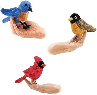 Gigi Jen's Gifts Folkmanis Finger Puppet – Mini Bluebird, Mini Robin, Mini Cardinal – Set of 3