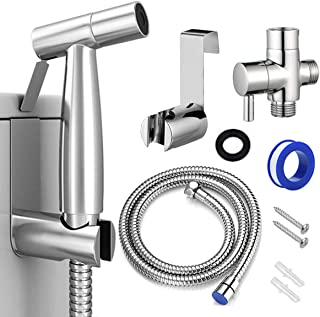 Bidet Sprayer for Toilet, Handheld Cloth Diaper Sprayer, Bathroom Jet Sprayer Kit Spray Attachment with Hose, Stainless Steel Easy Install Great Water Pressure for Bathing Pets, Feminine Hygiene