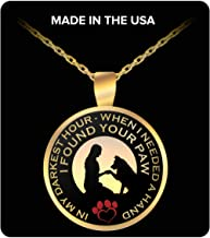 I Found Your Paw - Gold Plated Necklace - in My Darkest Hour When I Need A Hand I Found Your Paw - Love Dog Paw Necklace - Dog Paw Heartbeat Necklace, Dog Necklace, Veterinarian Gifts for Women