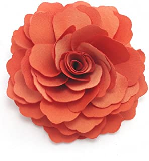 Meilliwish Camellias Flower Hair Clip and Brooch Pin (A74)(Orange)