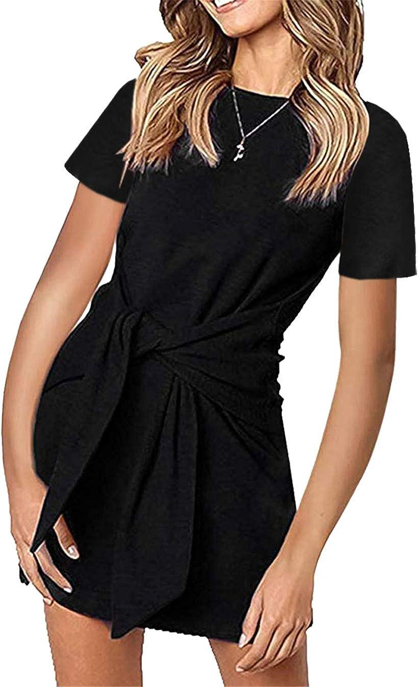 PRETTYGARDEN Women's Casual Short Dresses Solid Color Short Sleeve Crewneck Tie Waist T Shirt Dress Mini Tunic Dress