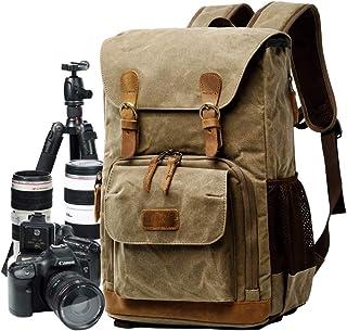 Kameraväska, kanvas SLR DSLR kameraryggsäck stor kapacitet frontöppen vattentät anti-chock kamera ryggsäck kamera resväska...
