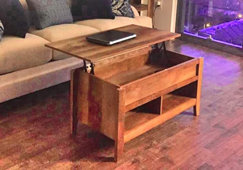 Resizable Desk Coffee Table Farmhouse End Decor Storage Rectangle Low Side Sofa Living Room Top Wood Furniture Laptop & Ebook by AllTim3Shopping.