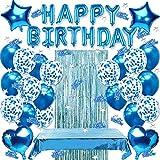 geburtstagsdeko blau,Geburtstag Dekoration Set,Happy Birthday Girlande Banner,konfetti Ballons blau, Luftballon Blau Geburtstag Dekoration,Geburtstagsdeko Blau Jungen,Happy Birthday deko