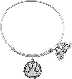Wind and Fire Paw Print Charm Bracelet in Silvertone