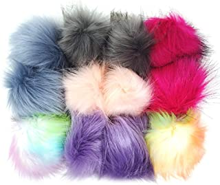 12pcs Faux Raccoon Fur Fluffy Pom Pom Ball for Hat Shoes Scarves Bag Charms-Gift - Portable Sewing Kit