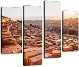 Jerusalem Panoramic roof View Canvas Wall Art Hanging Paintings Modern Artwork Abstract Picture Prints Home Decoration Gift Unique Designed Framed 4 Panel