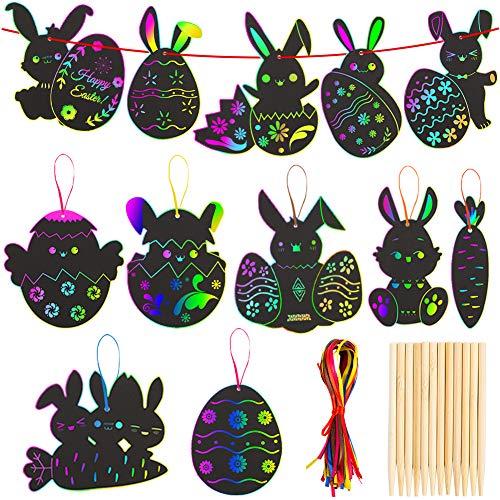 FunsLane Easter Bunny Scratch Art Egg Paper, 48Pcs Rainbow Rabbit Chicken Magic Painting Board, Tavolo da Pittura Artigianato Fai-da-Te con 12 pennini in Legno e 48 Nastri Colorati per Bambini
