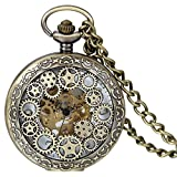 JewelryWe Steampunk Classic Antique Half Hunter Hollow Gear Wheel Skeleton Hand Wind Mechanical Pocket Watch with Chain
