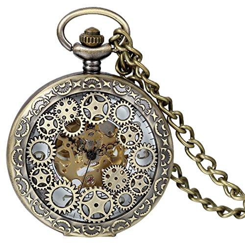 JewelryWe Reloj de Bolsillo mecánico Cuerda Manual, clásico Retro Reloj Bronce, Pantalla Dual Hueco, Reloj de Bolsillo Antiguo