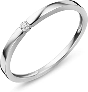 Orovi jewellery women's diamond ring, white gold, engagement ring, 9 carat (375) gold and diamond 0.03 ct, solitaire ring
