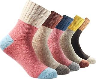 CoolBettrer, Miss Fortan 5 Pares de Calcetines de Lana de Alpaca Gruesos Calcetines Termicos Mujer para Invierno Color de empalme