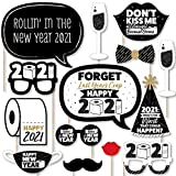 Big Dot of Happiness Rollin' in The New Year - 2021 New Year's Eve Party Photo Booth Props Kit - 20 Count