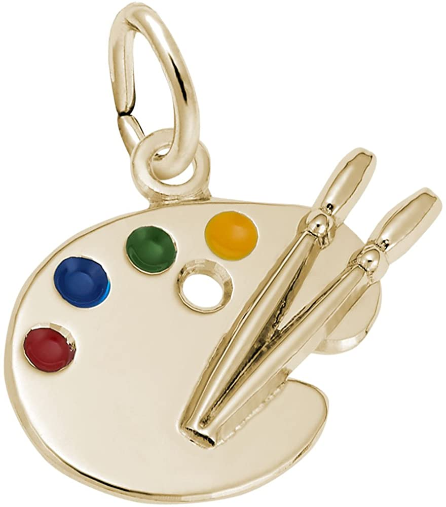10k Yellow Gold Artist Palette Charm, Charms for Bracelets and Necklaces