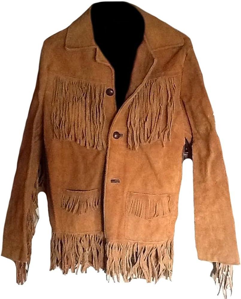 SleekHides Men's Western Cowboy Suede Leather Jacket Fringed