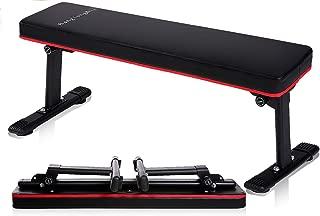 BangTong&Li フラットベンチ 筋トレ ベンチ トレーニングベンチ 耐荷重300KG 折り畳み式 ダンベルベンチ スペース節約 コンパクトデザイン(ダンベルを含まない)