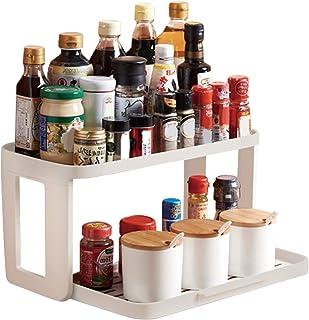 FYY Support à épices de cuisine (2 Niveaux), étagère de rangement en plastique pour bouteilles d'épices, support d'organis...