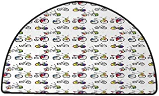 Bathroom Rug Kitchen Carpet Bicycle,Hand Drawn Penny-Farthing Tandem and City Bikes with Colored Rims Cartoon Style,Multicolor,W31 x L20 Half Round Large Area Rugs