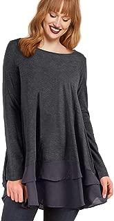 AMZ PLUS Women's Plus Size Flowy Henley Tops Chiffon Splicing Loose Blouse Tunic Dress Shirt