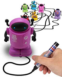 Magic Inductive Robot Toy Follow Black Line with LED Light Educational Toys for Kids (Inductive Robot) (Pink)