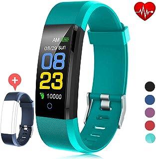 F-FISH Fitness Tracker Waterproof, Activity Tracker Watch con monitor de ritmo cardíaco, banda inteligente con monitor de presión arterial, contador de calorías, monitor de sueño, podómetro para niños, mujeres y hombres