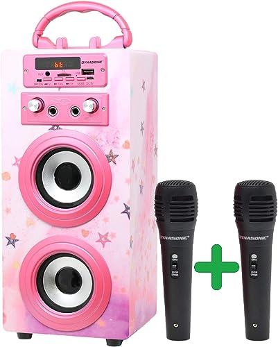 DYNASONIC (3º Generación)- Altavoz Bluetooth Portatil Karaoke con Micrófonos Incluidos | Lector USB y SD, Radio FM Mo...
