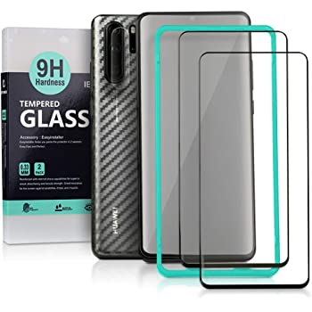 Ibywind Screen Protector for Huawei P30 Pro[Pack of 2][9D Full Curved] with Camera Lens Tempered Glass Protector,Back Carbon Fiber Skin Protector,Including Easy Install Kit