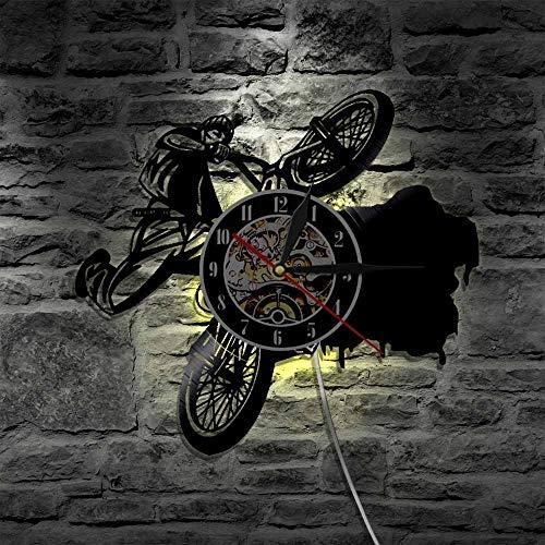 UIOLK Bicicleta Deportiva Bicicleta LED Reloj de Vinilo iluminación Cambio de Color Silueta lámpara de Pared Control Remoto retroiluminación LED