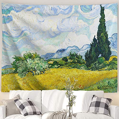 Baccessor Vincent Van Gogh Wall Tapestry Green Wheat Fields Oil Painting Wall Hanging Art