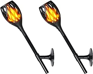 Solar Torch Light 3rd Generation, Outdoor /Indoor Tiki Style Fire Dancing Flickering Flames Lamp with USB Charging Auxiliary, 3 Application Sets of Wall, Table and In-ground for House, Garden (2)