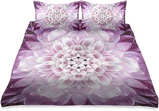 HATESAH Ropa de Cama - Juego de Funda nórdica,Flor de crisantemo,Juego de Funda de Almohada con Funda de Colcha de Fibra extrafina Multicolor