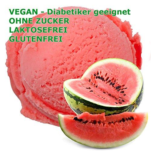 Melone Geschmack Eispulver VEGAN - OHNE ZUCKER - LAKTOSEFREI - GLUTENFREI - FETTARM, auch für Diabetiker Milcheis Softeispulver Speiseeispulver Gino Gelati (Melone, 1 kg)