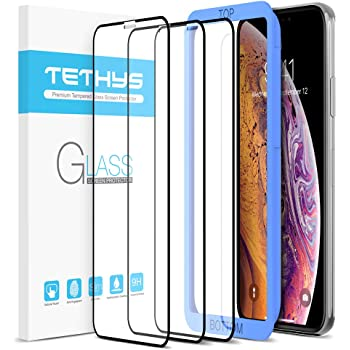 TETHYS Glass Screen Protector Designed for iPhone 11 Pro/iPhone Xs [Edge to Edge Coverage] Full Protection Durable Tempered Glass Compatible iPhone X/XS/11 Pro [Guidance Frame Include] - Pack of 3