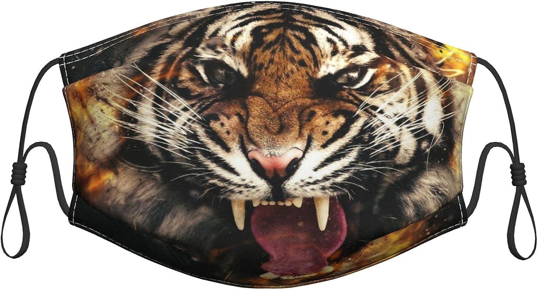 N \ A Máscara facial lavable con cabeza de tigre, cubrebocas reutilizables de algodón, pasamontañas antipolvo, protección bucal con bucles ajustables para adultos y mujeres, hombres, 1 unidad
