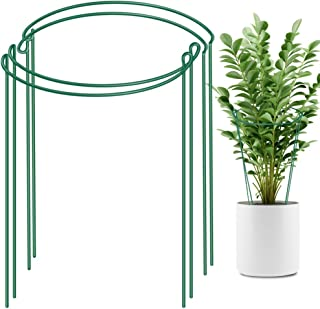 LEOBRO 4 Pack Plant Support Stake, Metal Garden Plant Stake, Green Half Round Plant Support Ring, Plant Cage, Plant Support for Tomato, Hydrangea, Rose, Vine (9.4