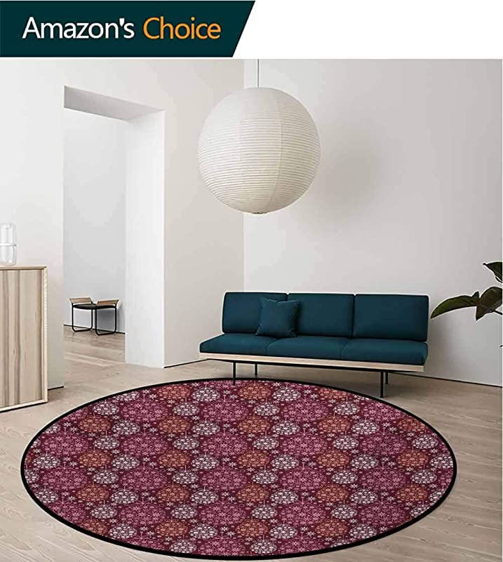 RUGSMAT Winter Modern Washable Round Bath Mat Christmas Baubles Ornamental Details Festive Traditional Holiday Non Slip Bathroom Soft Floor Mat Home Decor Round 31 Inch Maroon Dried Rose Pale Orange