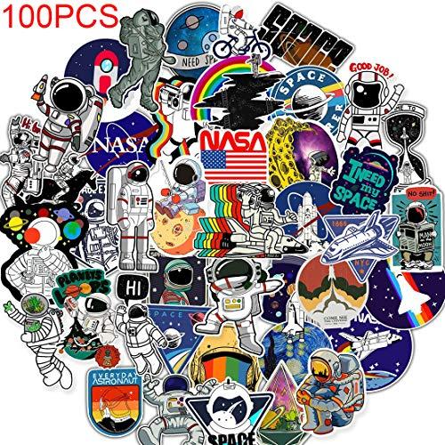 100 Pack Space Astronaut NASA Stickers Decals 3-4 inch Kids Cosmic Explorer Galaxy Waterproof Vinyl Graffiti Stickers