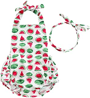 Baby Boys&Girls Cotton Soft Backless Romper Infant Cute Watermelon Print Bodysuit Clothes Summer Outfits with Headband