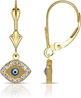 14K Gold Blue Enamel and Cubic Zirconia Evil-Eye Drop Leverback Earrings (Yellow or white)(10mm x 26mm)
