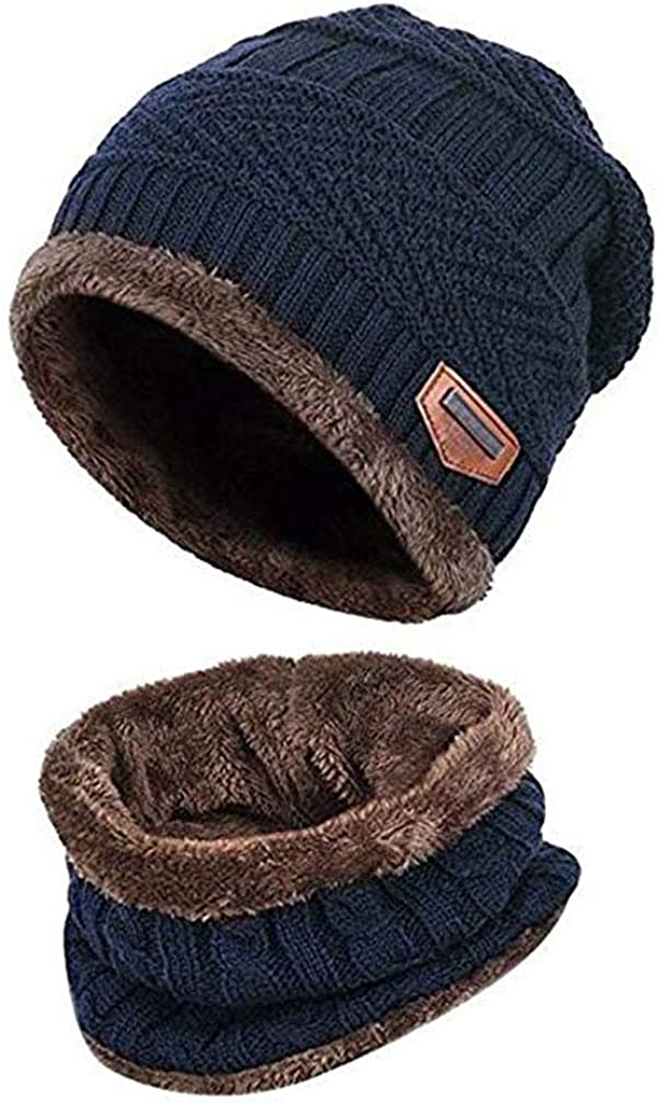 Kids Winter Beanie Hat Scarf Set Warm Thick Knit Ski Skull Cap with Fleece Lining for Children Boys Girls