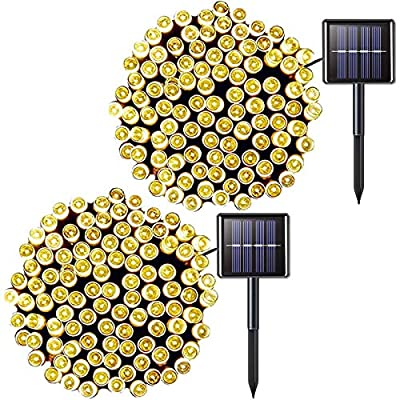 JMEXSUSS 2 Pack 100 LED Solar String Light 42.7ft 8 Modes Solar Christmas Lights Waterproof for Gardens,Wedding,Party,Christmas Tree,Xmas,Curtains,Outdoors(Warm White)