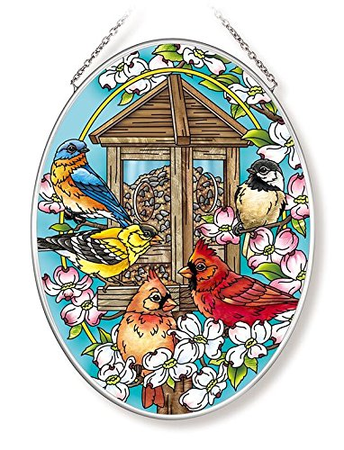Amia Songbird and Cardinal Glass Suncatcher, Multicolored