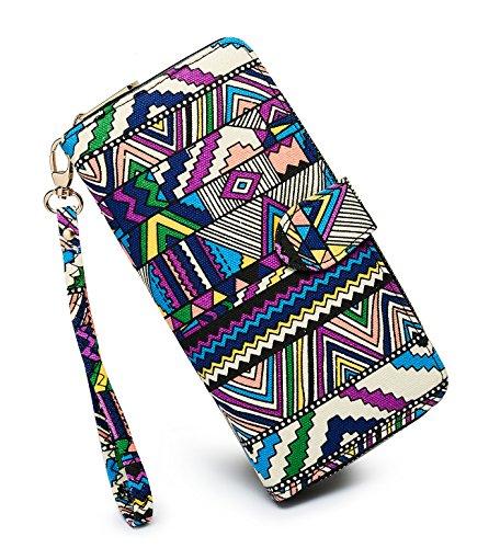 LOVESHE Women wallet RFID Blocking Purse Credit Card Clutch Zip Around Phone Clutch Large Travel Purse Wristlet Bohemian(SANJIAOXIN)