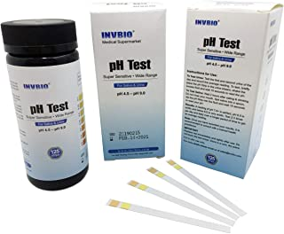 [125 ct] INVBIO Human Body pH Level Test, Best PH Test Strip for Urine and Saliva, Alkaline & Acidic pH Paper, pH Range 4.5-9.0, 15 Seconds to Read Result, Easy to Use