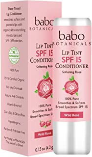 Babo Botanicals SPF 15 Lip Tint Conditioner, Wild Rose, 0.15 Ounce