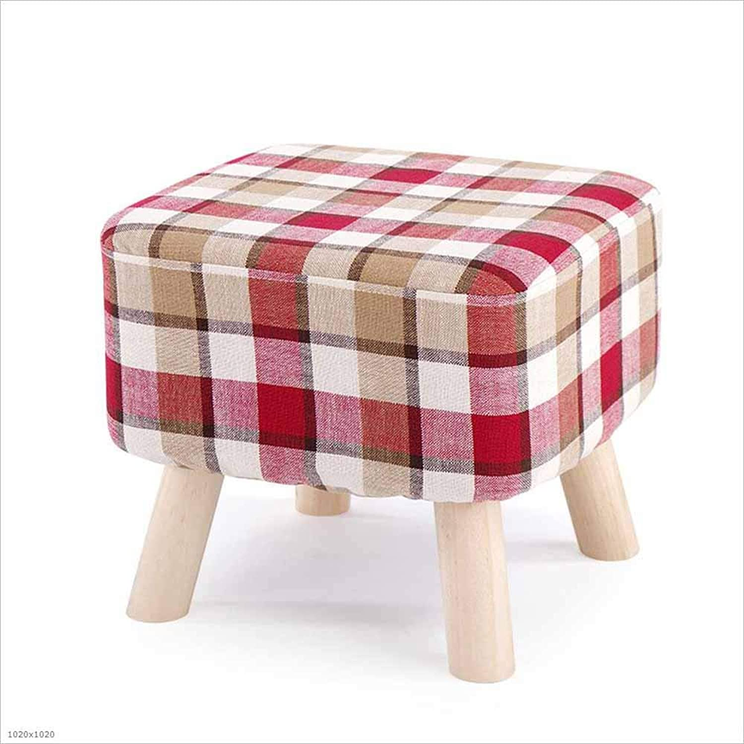 Sofa Stool Fabric Solid Wood Footstool Change shoes Stool Bedroom Cushion Seat Bench 40×40×35Cm, 1