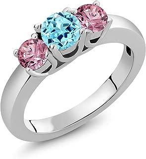 Gem Stone King 1カラット 天然 アパタイト 指輪 リング レディース 合成ピンクダイヤモンド シルバー925