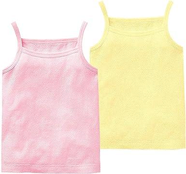 Camiseta Interior para Niño Niña Bebé Paquete De 2 Camiseta sin Mangas Malla Chalecos 100% Algodón 6 Meses - 6 Años