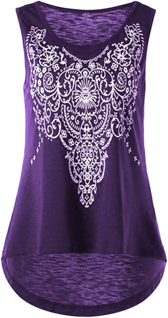 FABIURT Summer Tank Tops for Women, Womens Fashion Floral Printed Sleeveless T-Shirt Casual Loose Blouse Vest Tunic Tops